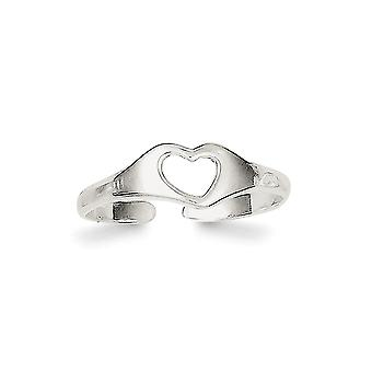 925 Sterling Silver Solid Polished Heart Toe Ring Jewely Gifts for Women - .6 Grams