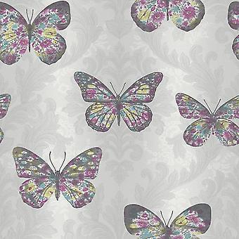Midsummer Dove Grey Damask Wallpaper Floral Butterfly Glitter Sparkle Arthouse