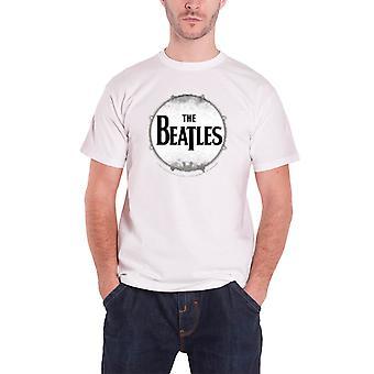 البيتلز تي شيرت Drumskin باند شعار بالأسى الرسمية الرجال أبيض جديد