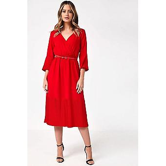 iClothing Jinx Belted Pleated Hem Midi Dress In Red-16