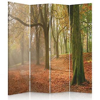 Divisor de habitación, 4 paneles, doble cara, 360o giratorio, lienzo, otoño en el bosque