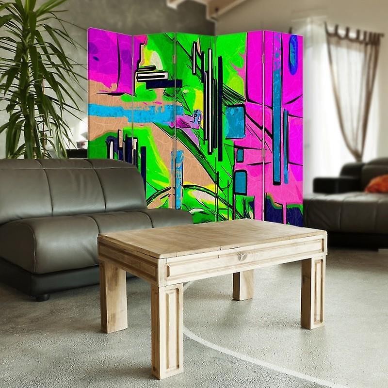 Diviseur de chambre, 5 panneaux, double-sided, Rotatable 360, toile, paysage abstrait