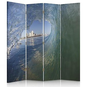 Raumteiler, 4 Paneele, Doppelseitig, 360 ° Drehbar, Leinwand, Welle mit Blick auf die Stadt