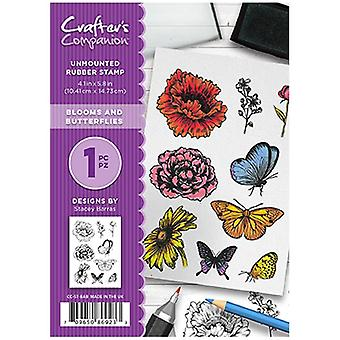 Crafter's Companion A6 Unmounted Rubber Stamp Set Blooms & Butterflies   Set of 9