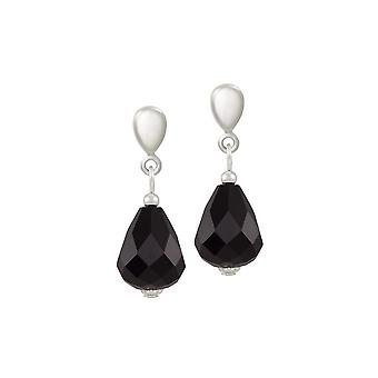 Eeuwige collectie verfijning Jet Black Crystal zilveren Toon drop schroef terug clip op oorbellen