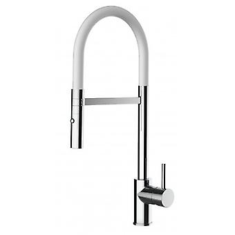 Single-lever Kitchen Sink Mixer With White Spout And 2 Jets Shower - 189
