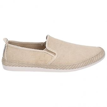 Flossy Manso Mens Canvas Slip On Plimsolls Taupe