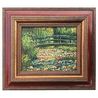 Lilies pond, oljemålning med ram, 20x25 cm