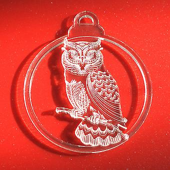 6pk Detailed Owl on Branch Clear Acrylic Christmas Decorations