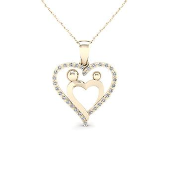 Igi certified 10k yellow gold 0.08ct tdw diamond mother & child heart necklace
