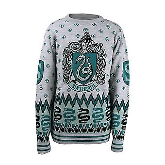 Unisex Harry Potter Slytherin Crest Knitted Christmas Jumper