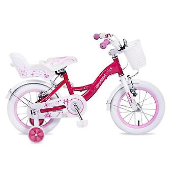 Byox Children's Bicycle 14 pouces Flower Pink Support Wheels, Panier avant, Doll Seat Bell
