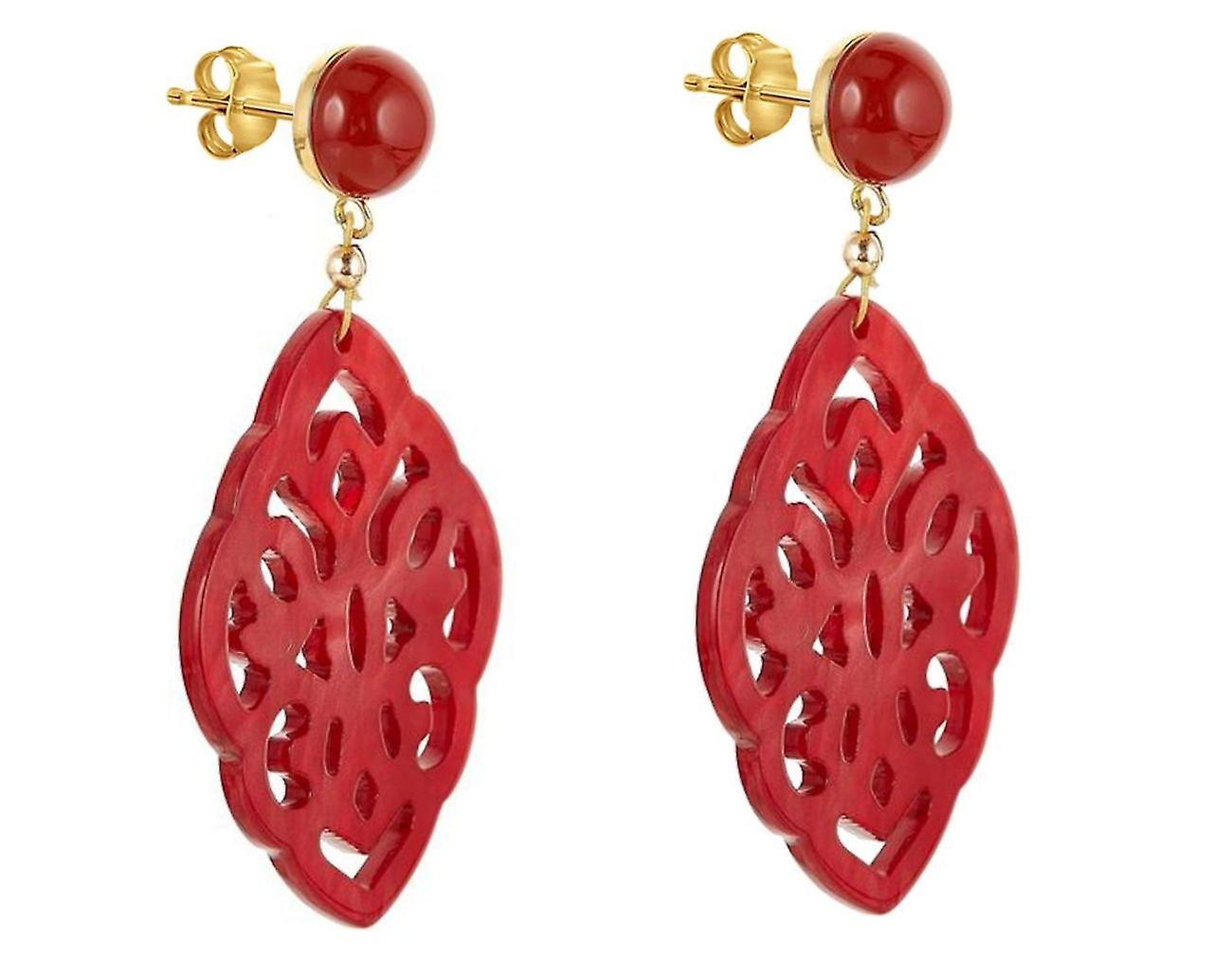 Gemshine Ohrringe Rote Karneolen, Schildpatt Harz Tropfen - 925 Silber Vergoldet