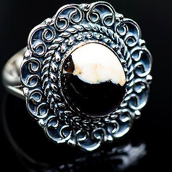 Peanut Wood Jasper Ring Size 8.25 (925 Sterling Silver)  - Handmade Boho Vintage Jewelry RING984690