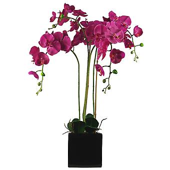 90cm Artificial Orchid Dark Pink in Ceramic Cube Planter