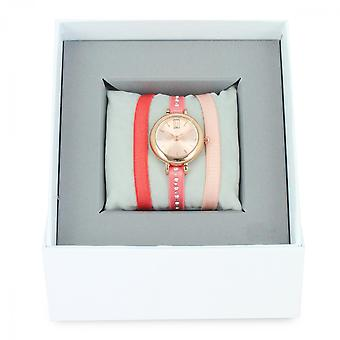 Les InterchangeableS boks A57203-gull dor Rose kvinner Coral band tape klokke