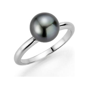 Adriana silver ring rhod. Tahiti black 8-9mm Premium PR4-57-60