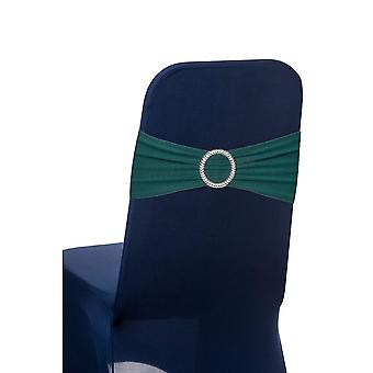 Olive Green Plain Stretchable Spandex Chair Sashes With Round Diamante Buckles