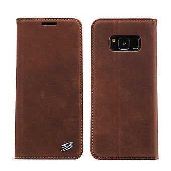 For Samsung Galaxy S8 Wallet Case,Fierre Shann Genuine Cow Leather Cover,Coffee
