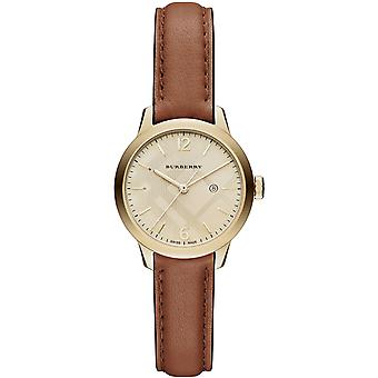 Burberry Bu10101 Champagne Check Stamped Gold Dial Ladies Watch