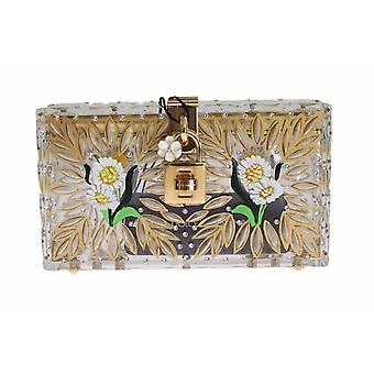 Dolce & Gabbana Purse Box Plexi Flower Hand Painted Da Sera Clutch
