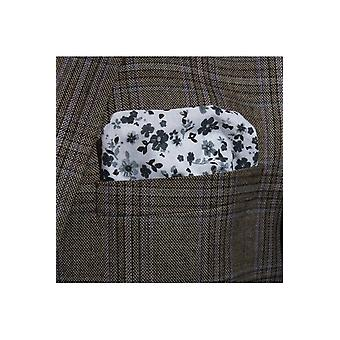 JSS Black Floral Cotton Pocket Square