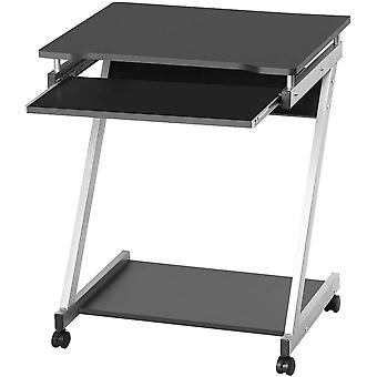 Z-Shaped Computer Desk with Sliding Keyboard 4 Wheels PC Table Movable Portable Trolley Study Workstation Black