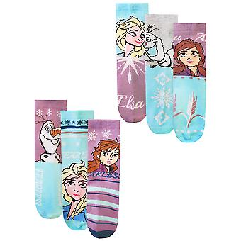 Disney Frozen 2 Assorted 6 Pack Girls Elsa, Anna & Olaf Official Character Socks
