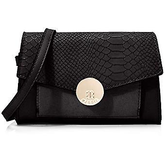 BESSIE LONDONGold Circle Clip Croc Flap Top Bum Bag Women's strap bag (Black)4x13x18 Centimeters (W x H x L)