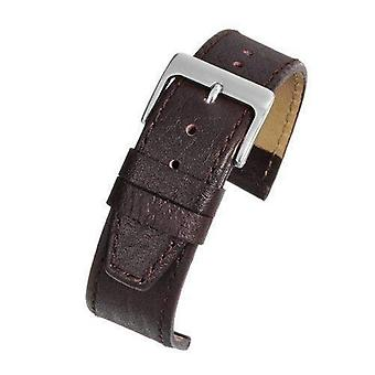 Calf leather watch strap brown buffalo grain with chrome buckle sizes 8mm to 22mm
