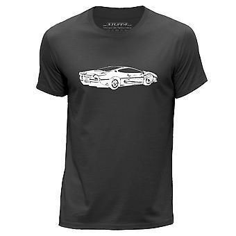 STUFF4 Mannen ronde hals T-T-shirt/Stencil auto Art / XJ220/Dark Grey