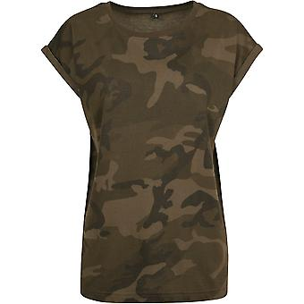 Build Your Brand Womens/Ladies Extended Shoulder Camouflage Print T-Shirt