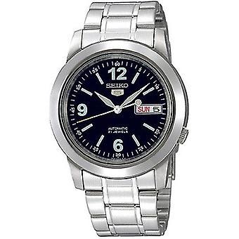 Seiko 5 Automatische schwarze s Dial Silber Edelstahl Herren's Uhr SNKE61K1