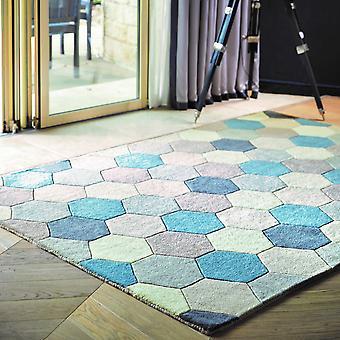 Tapis de laine hexagone en bleu pastel par les origines