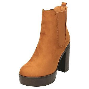 Koi Footwear High Heel Platform Chelsea Ankle Boots Tan Suede