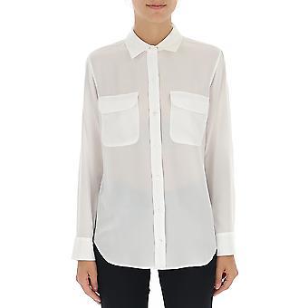 Equipment Q23e231brightwhite Women's White Silk Shirt