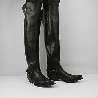 Sendra 7977 Men's Leather Thigh High Pointed Toe Boots Pull Oil Con Arnes