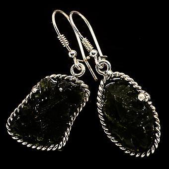 """Czech Moldavite Earrings 1 7/8"""" (925 Sterling Silver)  - Handmade Boho Vintage Jewelry EARR400219"""