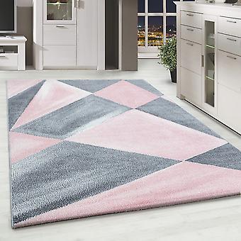 ShortFlor Designer Rug Abstract Patterned Home Rug Gris Pink White Mottled