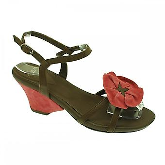 Audley Brown Wedge Sandal Big Flower