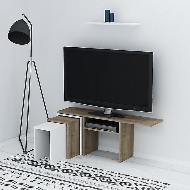Mobile Porta TV Peri Colore Bianco, Noce in Truciolare Melaminico, L120,6xP29,5xA49 cm, L60xP14,5xA1,8cm