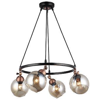 Lámpara de suspensión Serrta Color negro, metal cobre, vidrio, L52xP52xA95 cm