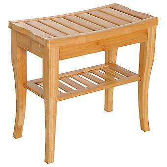 HOMCOM 45cm 2-Tier Slatted Bamboo Shower Bench Storage Seat w/ 4 Legs Comfortable Safe Bathroom Stool Spa Bath Organiser