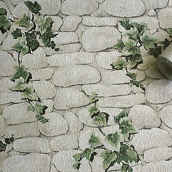 Stone Slate Wallpaper Brick Effect Ivy Textured Embossed White Green Erismann