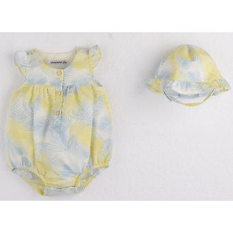 Mamino   Girl  Baby   Lisa   Blue and Yellow   Set of 2   Sleeveless Romper with hat