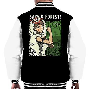 Princess Mononoke Save The Forest Rosie Riveter Parody Men's Varsity Jacket