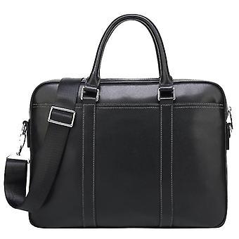 Menn's lær bærbar koffert (svart)