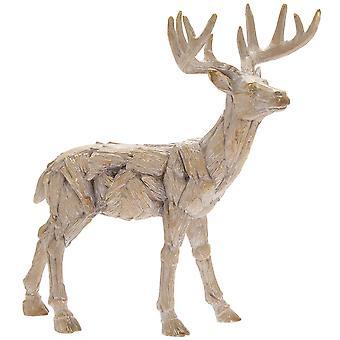Driftwood Hjort harts trä snidade effekt Animal Statue Prydnad
