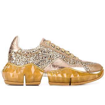 Jimmy Choo Ezcr028012 Women's Gold Glitter Sneakers