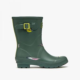 Joules Molly Welly Dames Rubber Mid Height Wellies Green Birds